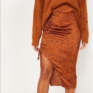 Rust Satin Printed Ruched Side Midi Skirt